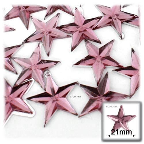 Rhinestones, Flatback, Star, 21mm, 144-pc, Light Baby Pink