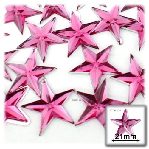 Rhinestones, Flatback, Star, 21mm, 144-pc, Hot Pink