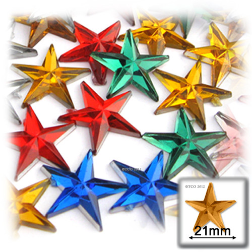 Rhinestones, Flatback, Star, 21mm, 144-pc, Mixed Colors