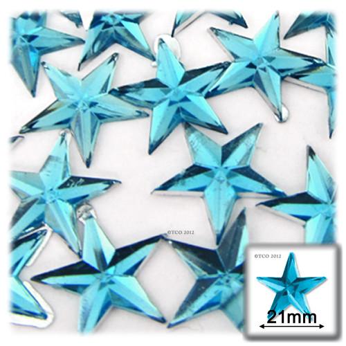 Rhinestones, Flatback, Star, 21mm, 144-pc, Aqua Blue