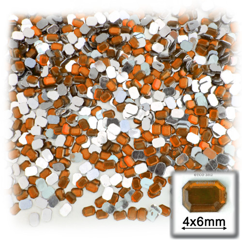 Rhinestones, Flatback, Rectangle, 4x6mm, 288 -pc, Orange