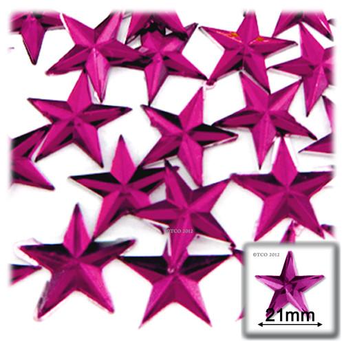 Rhinestones, Flatback, Star, 21mm, 144-pc, Fuchsia