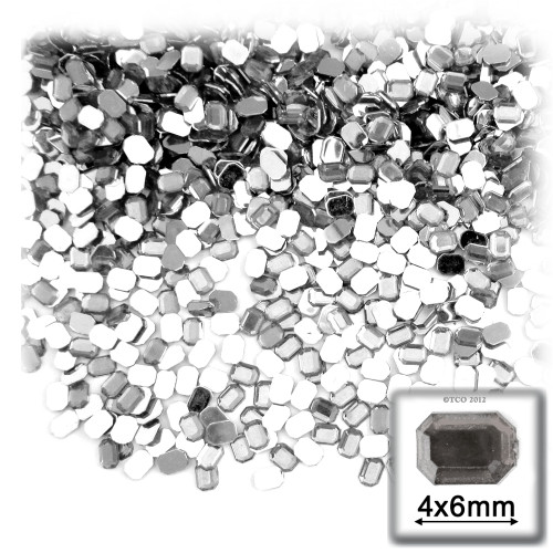 Rhinestones, Flatback, Rectangle, 4x6mm, 288 -pc, Clear