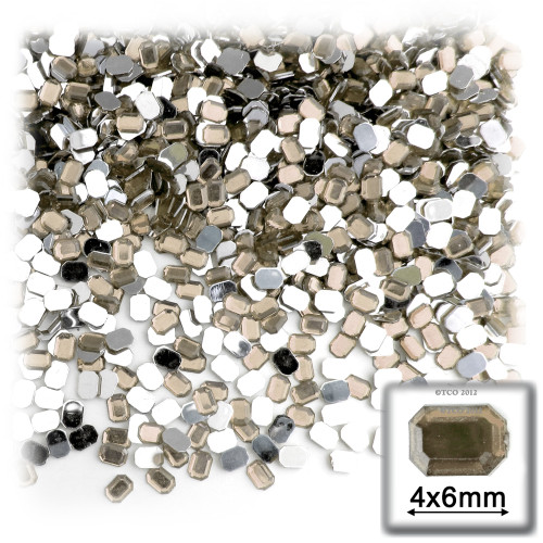 Rhinestones, Flatback, Rectangle, 4x6mm, 288 -pc, Champagne Yellow