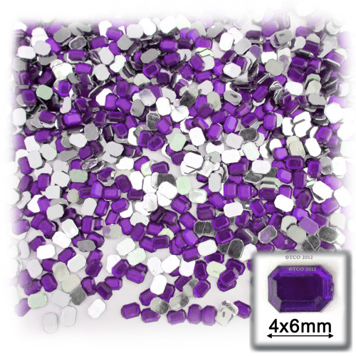 Rhinestones, Flatback, Rectangle, 4x6mm, 288-pc, Purple, Amethyst