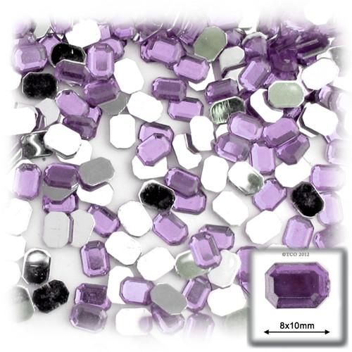 Rhinestones, Flatback, Rectangle, 8x10mm, 144-pc, Lavender