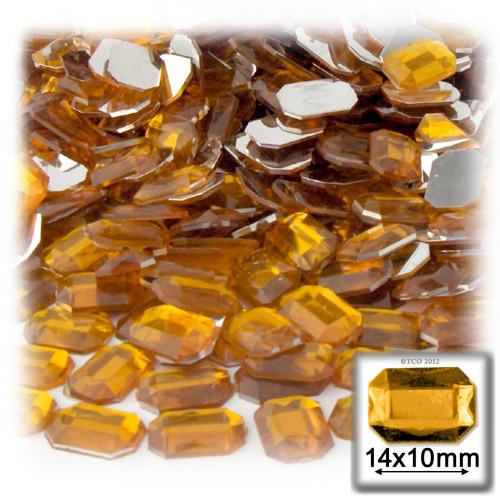 Rhinestones, Flatback, Rectangle, 10x14mm, Golden Yellow