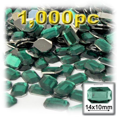 Rhinestones, Flatback, Rectangle, 10x14mm, Emerald Green