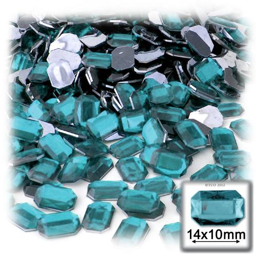 Rhinestones, Flatback, Rectangle, 10x14mm, Aqua Blue