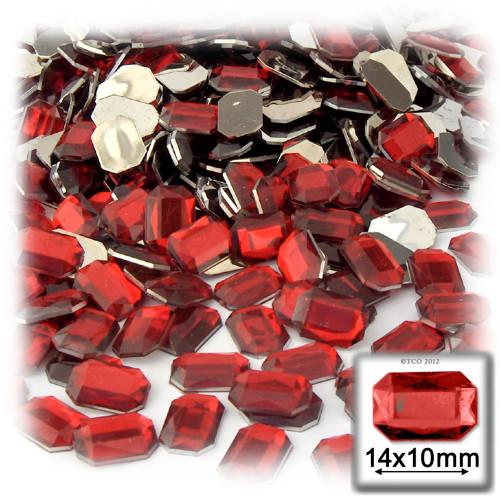 Rhinestones, Flatback, Rectangle, 10x14mm, Ruby Red