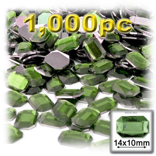 Rhinestones, Flatback, Rectangle, 10x14mm, Olive Green