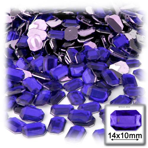 Rhinestones, Flatback, Rectangle, 10x14mm, Royal Blue