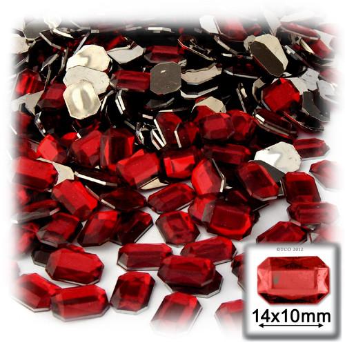 Rhinestones, Flatback, Rectangle, 10x14mm, 144-pc, Devil Red Wine