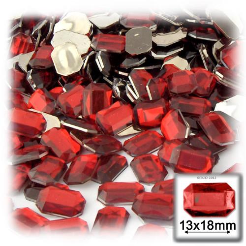 Rhinestones, Flatback, Rectangle, 13x18mm, 144-pc, Ruby Red