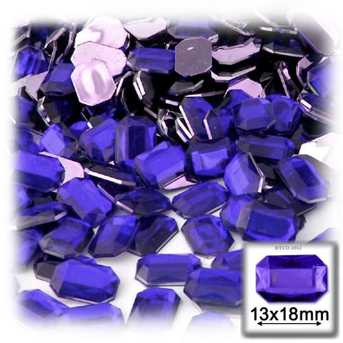 Rhinestones, Flatback, Rectangle, 13x18mm, 144-pc, Royal Blue