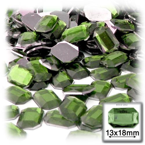 Rhinestones, Flatback, Rectangle, 13x18mm, 144-pc, Olive Green
