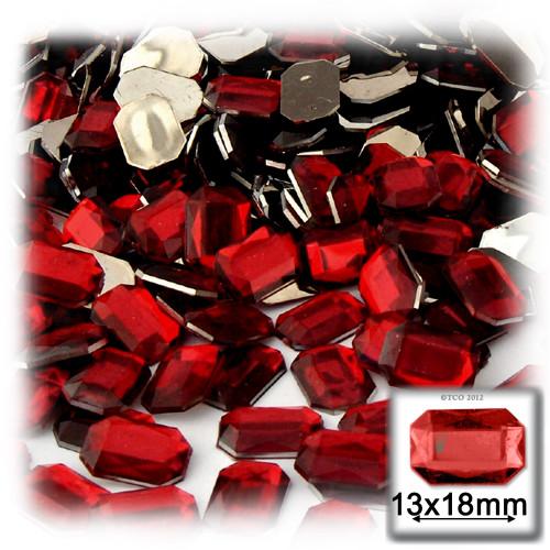 Rhinestones, Flatback, Rectangle, 13x18mm, 144-pc, Devil Red Wine