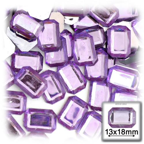 Rhinestones, Flatback, Rectangle, 13x18mm, 144-pc, Lavender