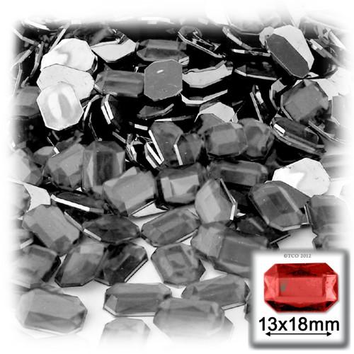 Rhinestones, Flatback, Rectangle, 13x18mm, 144-pc, Charcoal Gray