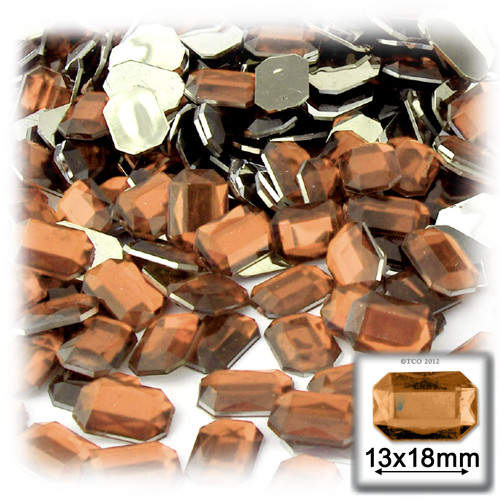 Rhinestones, Flatback, Rectangle, 13x18mm, 144-pc, Light Orange
