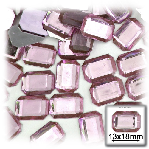Rhinestones, Flatback, Rectangle, 13x18mm, 144-pc, Light Baby Pink