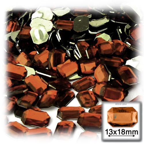 Rhinestones, Flatback, Rectangle, 13x18mm, 144-pc, Beer Brown