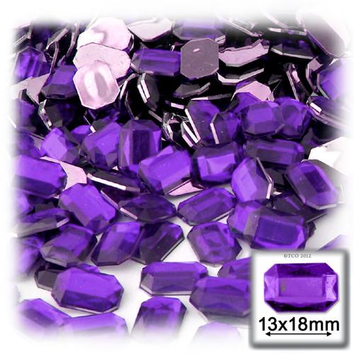 Rhinestones, Flatback, Rectangle, 13x18mm, 144-pc, Purple, Amethyst
