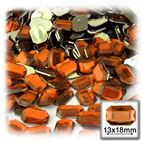 Rhinestones, Flatback, Rectangle, 13x18mm, 144-pc, Orange