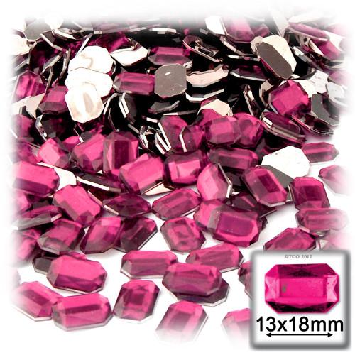 Rhinestones, Flatback, Rectangle, 13x18mm, 144-pc, Hot Pink