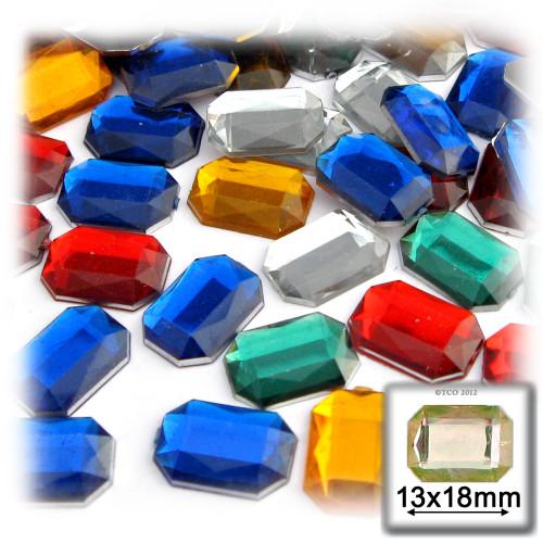 Rhinestones, Flatback, Rectangle, 13x18mm, 144-pc, Mixed Colors
