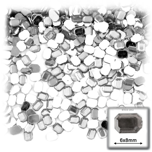 Rhinestones, Flatback, Rectangle, 6x8mm, 144-pc, Clear