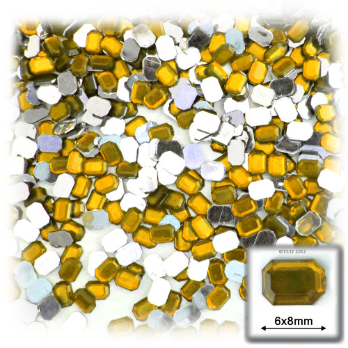Rhinestones, Flatback, Rectangle, 6x8mm, 144-pc, Golden Yellow