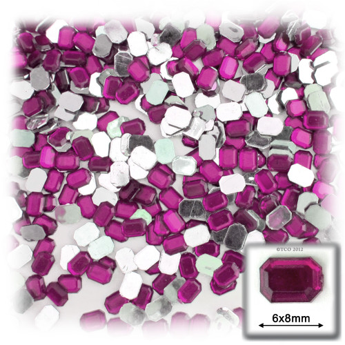 Rhinestones, Flatback, Rectangle, 6x8mm, 144-pc, Fuchsia