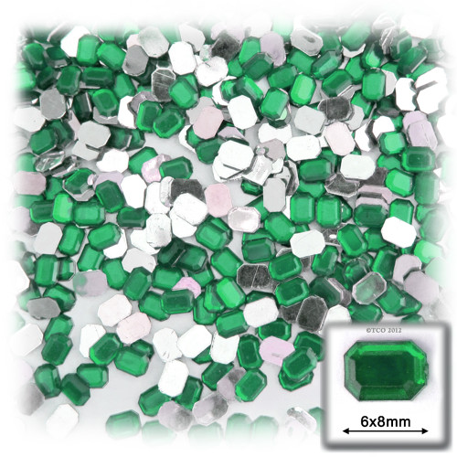 Rhinestones, Flatback, Rectangle, 6x8mm, 144-pc, Emerald Green