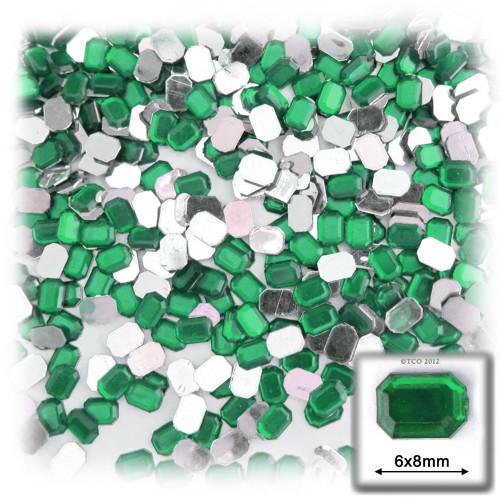 Rhinestones, Flatback, Rectangle, 6x8mm, 144-pc, Emerald Green
