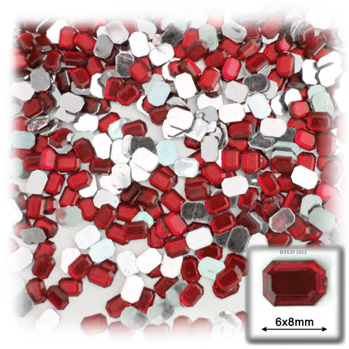 Rhinestones, Flatback, Rectangle, 6x8mm, 144-pc, Ruby Red