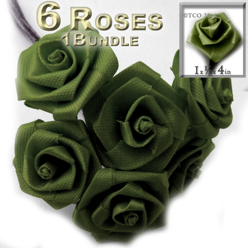 Artificial Flowers, Ribbon Roses, 1.0-inch, Olive Green, 1 bundle