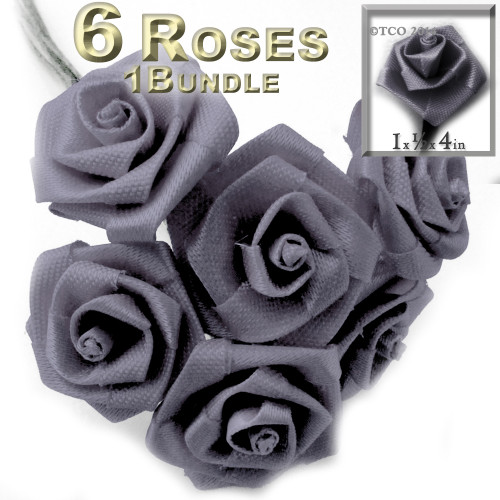 Artificial Flowers, Ribbon Roses, 1.0-inch, Gray, 1 bundle
