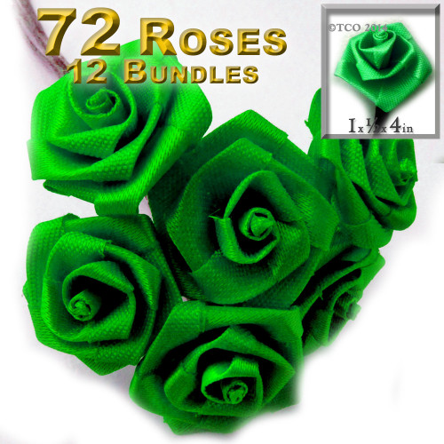 Artificial Flowers, Ribbon Roses, 6 bundles, 1.0-inch, Bright Green