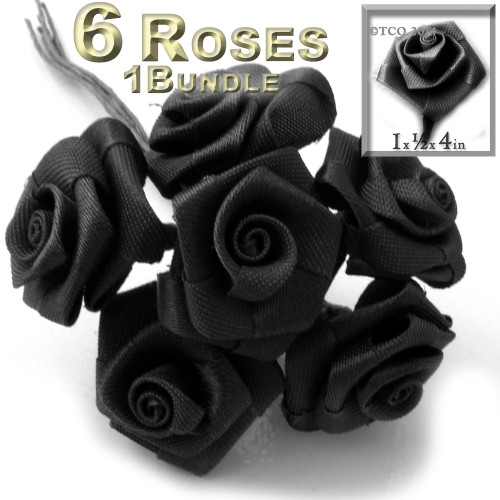 Artificial Flowers, Ribbon Roses, 1.0-inch, Black