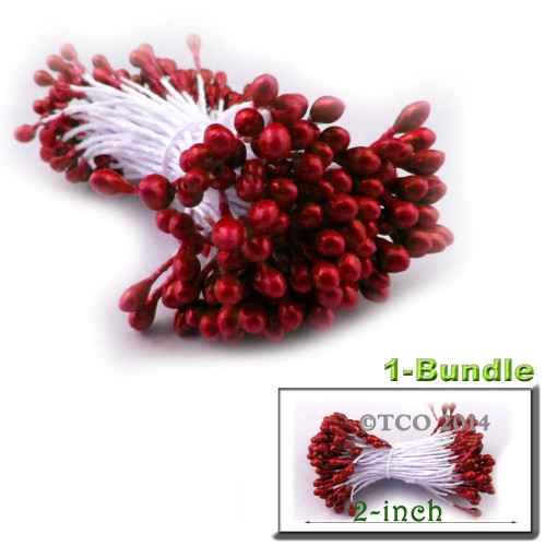 Pearl Stamen, 2-in, 3mm, 144-pc, Red