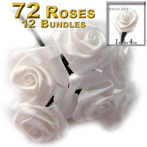 Artificial Flowers, Ribbon Roses, 6 bundles, 1.0-inch, Cream