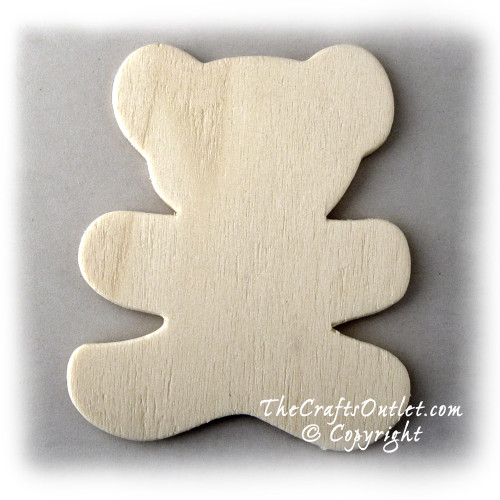 Unfinished Wood, 3-in, 1/8-in Thick, Shape, Teddy Bear Shapes
