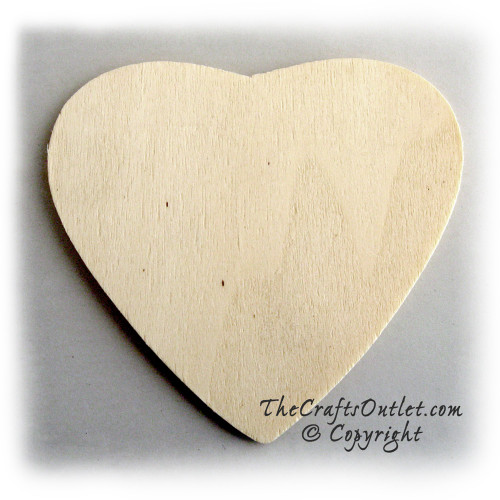 Unfinished Wood, 3-in, 1/8-in Thick, Shape, Heart Shapes