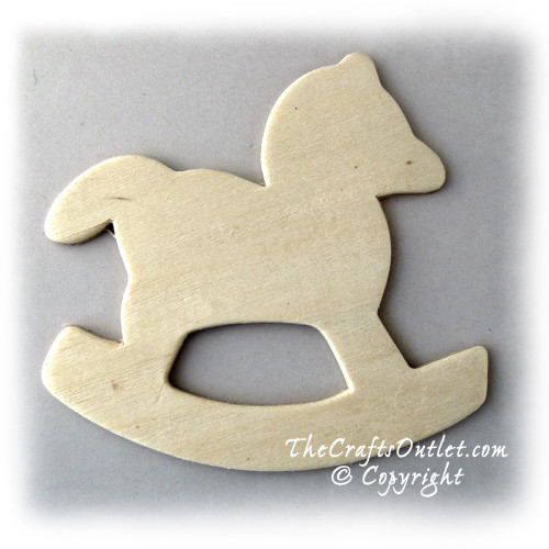 Unfinished Wood, 3-in, 1/8-in Thick, Shape, Rocking Horse