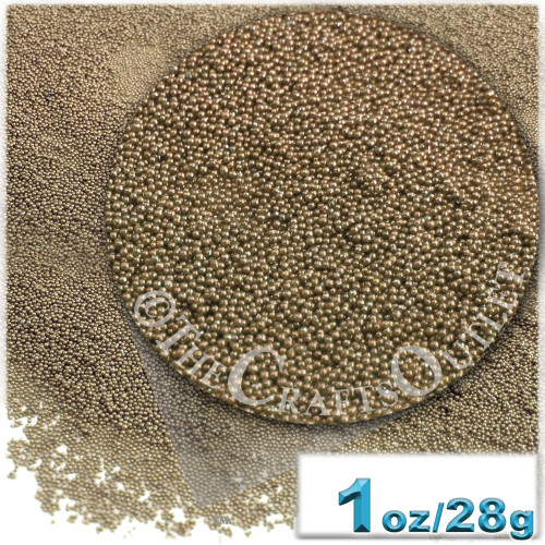 Glass Beads, Microbeads, Opaque, Metallic coated, 0.6mm, 1-oz, Coffee Brown