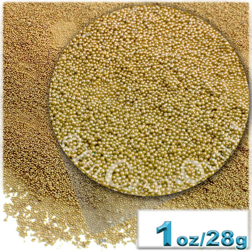 Glass Beads, Microbeads, Opaque, Metallic coated, 0.6mm, 1-oz, Champagne Yellow