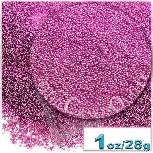 Glass Beads, Microbeads, Opaque, Metallic coated, 0.6mm, 1-oz, Hot Pink