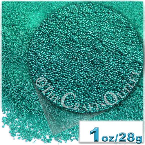 Glass Beads, Microbeads, Opaque, Metallic coated, 0.6mm, 1-oz, Turquoise