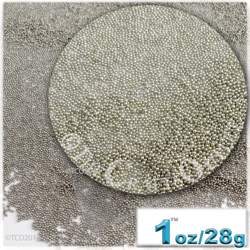 Glass Beads, Microbeads, Opaque, Metallic coated, 0.6mm, 1-oz, Bright Silver